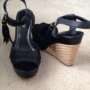 Ralph Lauren Gwen Black wedged platform Heels, 9B